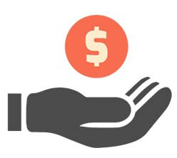 Hand giving away a money icon